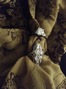 A tale of two diamond rings: my grandmother's engagement and cocktail rings.