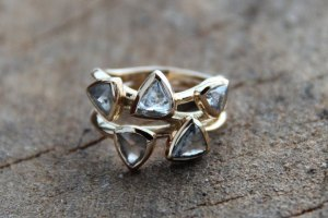 A gorgeous example that highlights the beauty of rough diamonds. Photo and ring by liloveve.com.